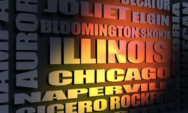Illinois cities list. Image relative to usa travel. Illinois state cities list. 3D rendering Royalty Free Stock Photography