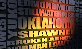 Oklahoma cities list. Image relative to USA travel. Oklahoma cities and places names cloud. 3D rendering stock photos