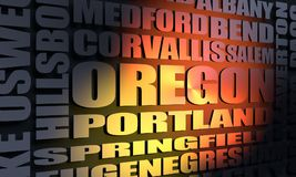 Oregon cities list. Image relative to USA travel. Oregon cities and places names cloud. 3D rendering Royalty Free Stock Images