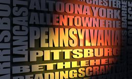 Pennsylvania cities list. Image relative to USA travel. Pennsylvania cities and places names cloud. 3D rendering Stock Image
