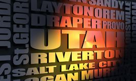 Utah state cities list. Image relative to USA travel. Utah cities and places names cloud. 3D rendering royalty free stock image