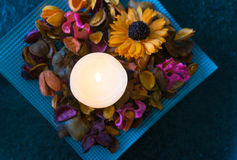 Image of relax, with candle, leaf, and flower Royalty Free Stock Photos
