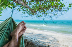 Image of relaxing time on white sand beach Royalty Free Stock Photo