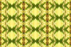 PALM LEAF REPEAT PATTERN IN GREEN AND YELLOW TONES. Image of a repeat pattern with a palm leaf motif in green and yellow hues vector illustration
