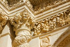 Details baroque of column and capital of the sicilian Church. royalty free stock images