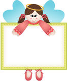 Cute fairy holding a blank banner Stock Photos