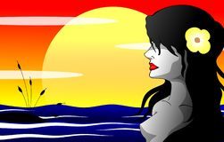 Girl with black hair with the sea at sunset vector illustration