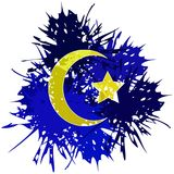 Stylized islam symbol in spots isolated. Image representing a moon with star in an abstract decoration made with spots. An idea which can be used in different Stock Images