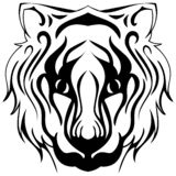Tiger face isolated in black and white tattoo royalty free illustration