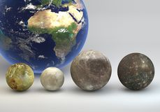 Jupiter moons with Earth comparison. This image represents the comparison between the moons of Jupiter with the Earth in a precise scientific design Stock Photos
