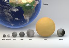 Saturn moons in size and Earth comparison with captions. This image represents the comparison between the moons of Saturn in size and Earth with captions. This Royalty Free Stock Photos