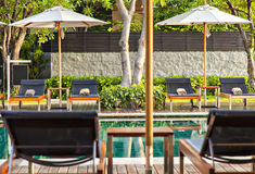 Pool loungers Stock Image