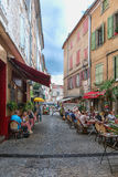 Image of restaurants in a streets in the center of Les Vans. Es Vans, France, September 17, 2015: Image of restaurants in a streets in the center of Les Vans in Royalty Free Stock Photography