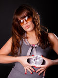 Image of rich girl. Picture of sexy girl holding a diamond Stock Photos