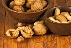 Image of ripe walnuts on the table close-up Stock Photo