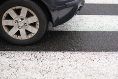 Road marking pedestrian crossing close-up. Image of road marking pedestrian crossing close-up Stock Images