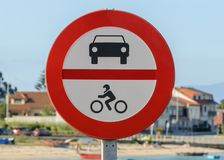Road stop sign in the city stock photography