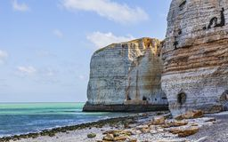 Beach in Normandy. Image of the rocky beach from Le Tileul in the Upper Normandy in the North of France Royalty Free Stock Images