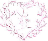 The image of a romantic kiss in a framework with heart Stock Photography