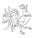Image rooster silhouette on a white background. Tattoo. illustration. Image rooster silhouette on a white background. Tattoo. Vector illustration Stock Photos