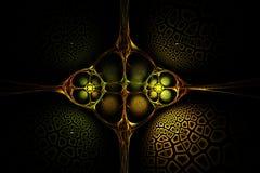 Image rouge de vieille or de fractale et verte jaune géométrique abstraite Photographie stock