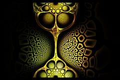 Image rouge de vieille or de fractale et verte jaune géométrique abstraite Images stock