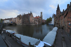 Image with Rozenhoedkaai in Brugge. Royalty Free Stock Photo