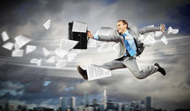 Image of running businessman Royalty Free Stock Photography