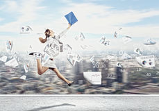 Image of running businesswoman Stock Photography