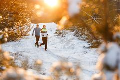 Image of running sports women and men in winter park. Among trees in morning Royalty Free Stock Photos
