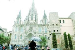 CATHEDRAL SACRED FAMILY IN BARCELONA royalty free stock images