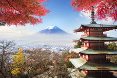 Image of the sacred mountain of Fuji in the background of blue s Royalty Free Stock Photography