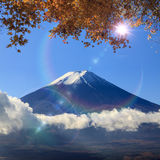 Image of sacred mountain of Fuji in the background at Japan Royalty Free Stock Image
