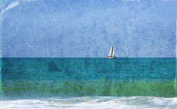 Image of sailboat at horizon on the sea with texture overlay, vintage filter. Royalty Free Stock Images