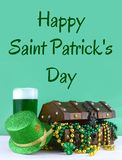 Image for Saint Patrick`s Day on March 17th. Treasure chest to symbolize luck and wealth. Vertical image. stock photos