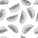 Image Salmon Nigiri Sushi, modèle de sushi d'Ikura Pour le menu de fruits de mer Illustration de vecteur d'encre d'isolement sur  Images stock