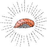 Image Salmon Sushi dans des rayons de Sun pour le menu de fruits de mer Illustration de vecteur d'isolement sur une bande dessiné Image libre de droits