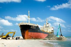 The image of the salvage ship ORAPIN 4 Stock Photos