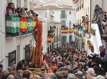 The image of San Sebastian processes through crowds at Lubrin in the Festival of Bread Royalty Free Stock Images