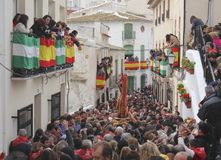 The image of San Sebastian processes through crowds at Lubrin in the Festival of Bread Stock Photos
