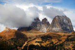 Image of Sassolungo Group in autumn Royalty Free Stock Photo
