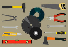 Image of a saw, pliers, axes and other tools for construction and repair. Vector illustration with the image of a saw, pliers, axes and other tools for Stock Image