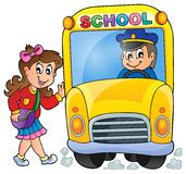 Image with school bus theme 7 Royalty Free Stock Photo