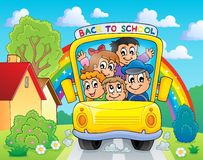 Image with school bus theme 4 Royalty Free Stock Photo