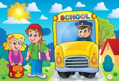Image with school bus topic 7 Stock Photography