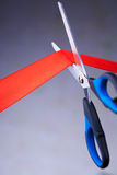 Image of scissors cutting a red ribbon Stock Images