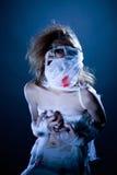 Image of screaming girl-mummy posing at camera Royalty Free Stock Photography