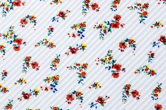 Seamless Floral Pattern in White Striped Texture Background on Cloth vector illustration