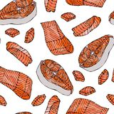 Image Seamless Pattern with Salmon Filet for Seafood Menu. Ink Vector Illustration Isolated On a White Background Doodle Stock Image