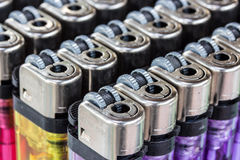 Image of a selection of cigarette lighters Royalty Free Stock Photo
